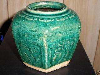 Antique Chinese Pottery 6 Sided Vase photo