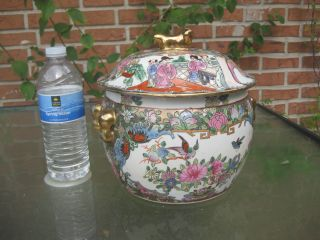 """Rose Canton Chinese Porcelain Vase With Lid,  8"""",  6 Lb. photo"""