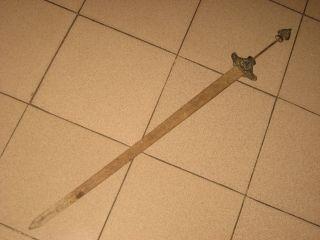Exquisite Antique Chinese Iron Copper Dragon Decorate Sword photo