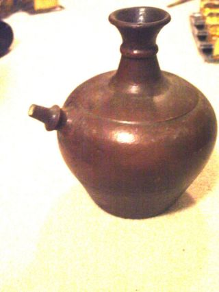 Antique Chinese Clay Kendi Brown Glaze With Lid Rare photo