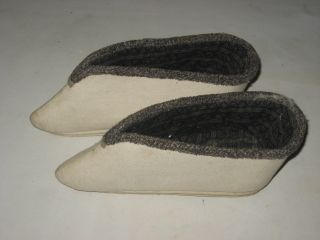 Antique Chinese White Embroidery Lady Bound Shoe photo