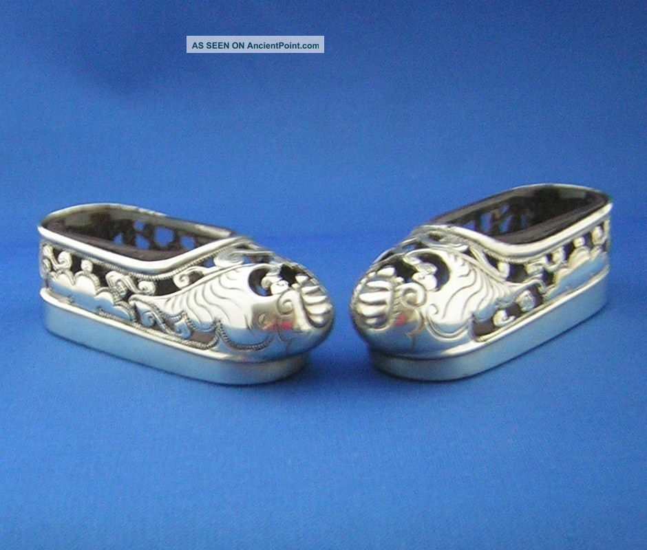 Antique Chinese Silver ' Shoe Shaped ' Salts Hallmarked - W.  C.  & 90. . Other photo