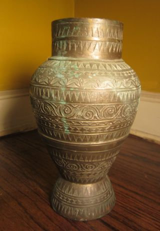 Antique Asian Old 1800 ' S Handmade Bronze Brass Vase Urn Detailed Pot photo
