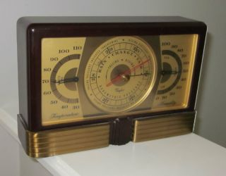 Desk Art Deco Machine Age Maroon Bakelite Taylor Airguide Barometer & Therometer photo
