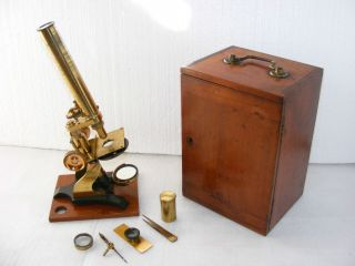 19th C.  Brass Microscope Society Of Arts Type With Accessories,  Needs Repair photo