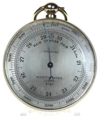 Negretti & Zambra Polished Brass Pocket Aneroid Barometer & Altimeter photo
