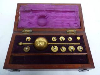 A Good Sikes Brass Hydrometer In Mahogany Case photo