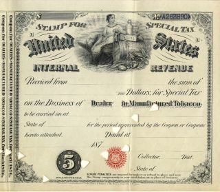 1873 License Tobacco Dealer Documents Sts Cigar Irs History Special Tax Stamp photo