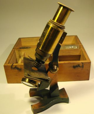 Victorian Cased Brass Field Microscope photo
