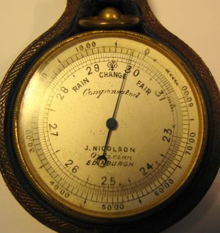 Edwardian Cased Pocket Barometer By J Nicolson Optician Edinburgh photo