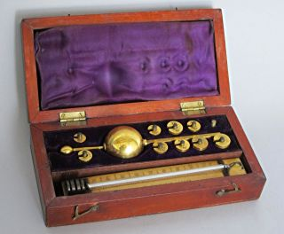 Victorian Antique Sikes ' Hydrometer In Mahogany Case 1880 photo