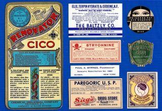 8 Old Beauty Poison Morphine Narcotics & Pharmacy Antique Medicine Bottle Labels photo