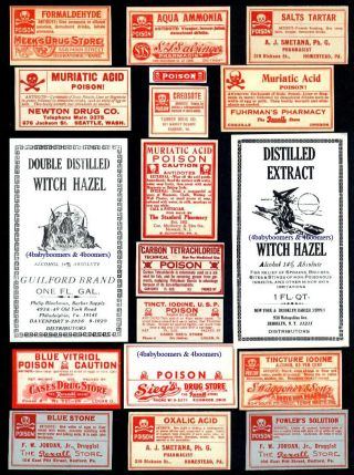 18 Antique Halloween Witch On Broom & Poison Drugstore Rx Medicine Bottle Labels photo