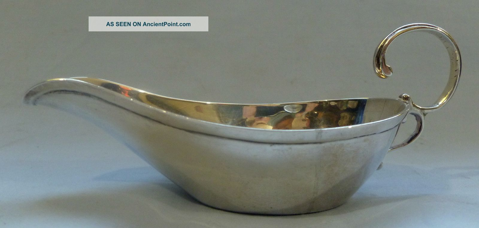 Antique C.  1897 Victorian English Solid Silver ' Pap Boat ' (baby Feeder).  Nr. Other photo