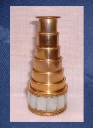 Georgian 6 Stage Mother Of Pearl Telescope Monocular Spyglass - Lerebours Paris photo