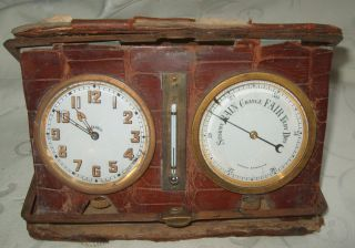 Antique Brevette Swiss 8 Days Travel Clock And Aneroid Barometer With Skin Case photo