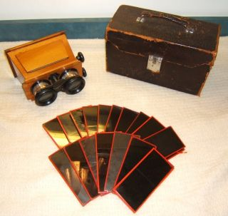 Antique Unis France Stereoscope Viewer 18 Glass Botanical Stereoview Slides Case photo