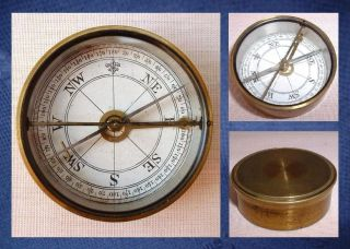 Antique Jewelled Brass Cased Lidded Glass Topped Compass C1900 photo