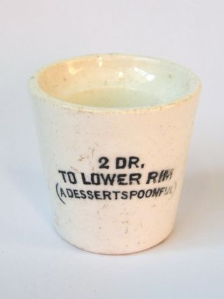 Victorian - Rare - Small Pottery 2 Draw 1/4 Oz Medicine Measuring Cup - Circa 1880 ' S photo