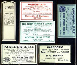 6 Antique Medicine Bottle Narcotic Label - Opium Morphine photo