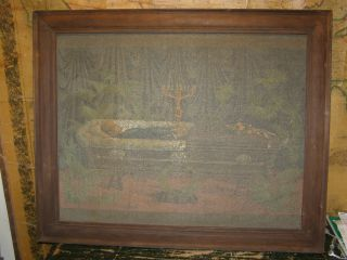 Antique Aafa Folk Art Painting On Screen Morbid Mourning Dead Man In Casket photo
