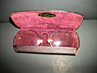 10k Lorgnette / Glasses Circa 1900 W/ Embossed Case Chattanooga Tenn photo