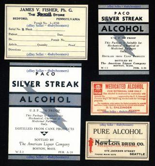 5 Antique Prohibition Prescription Alcohol Pharmacist+ Drug Store Medicine Label photo