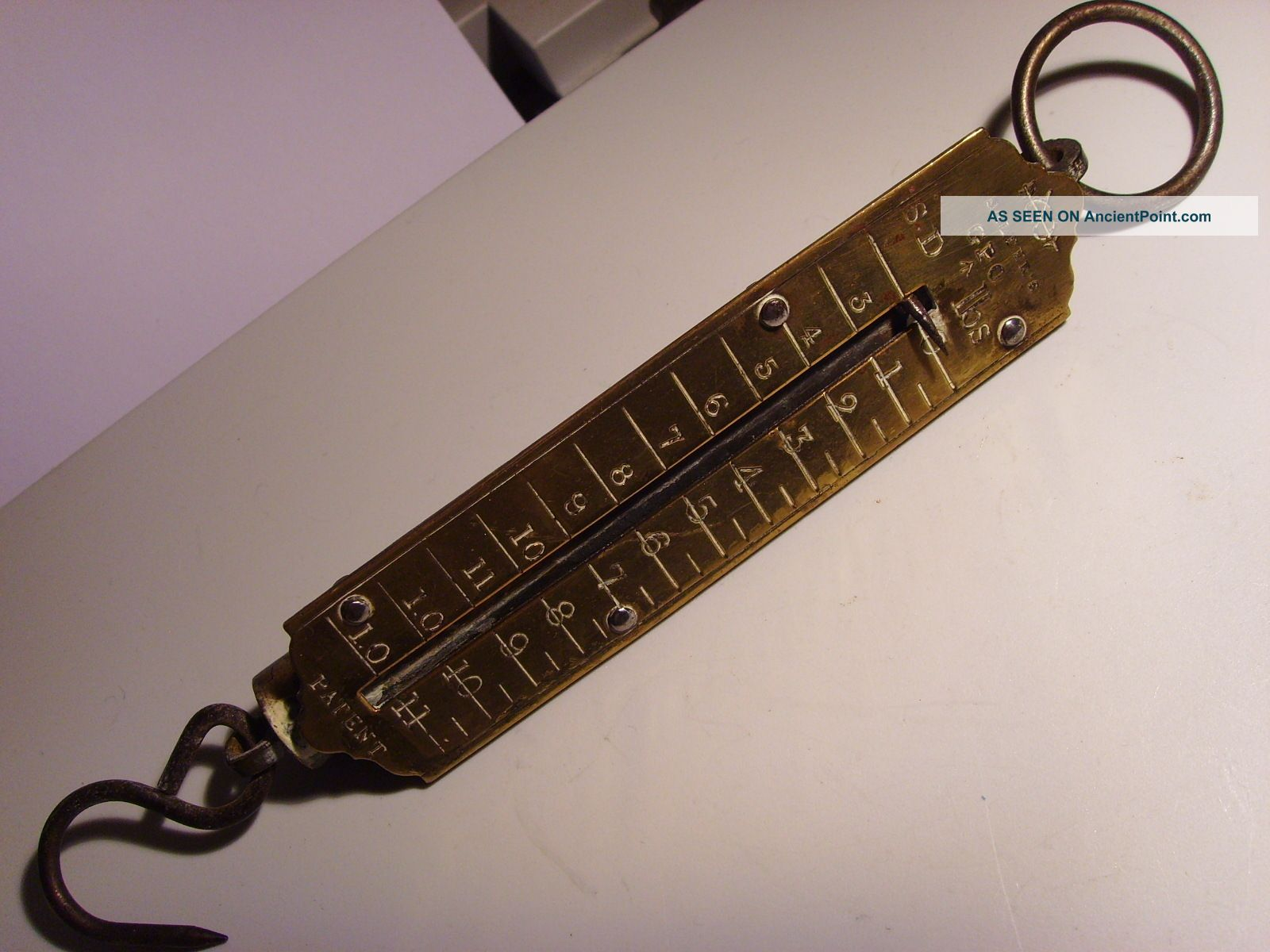 Vintage Brass Salter G.  P.  O.  Spring Balance Scales 11 Pound Maximum Weight Other photo