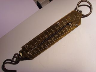 Vintage Brass Salter G.  P.  O.  Spring Balance Scales 11 Pound Maximum Weight photo