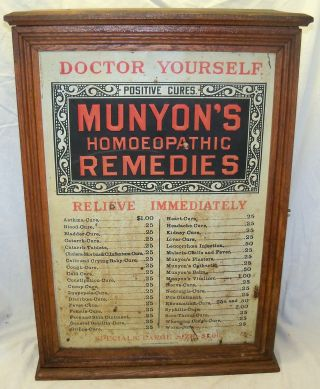 Old Antique Munyons Remedies Medicine Oak Country Store Display Cabinet Case photo