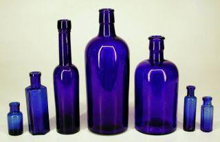 Collection Bulk Lot Antique Cobalt Blue Glass Chemist Poison Apothecary Bottles photo
