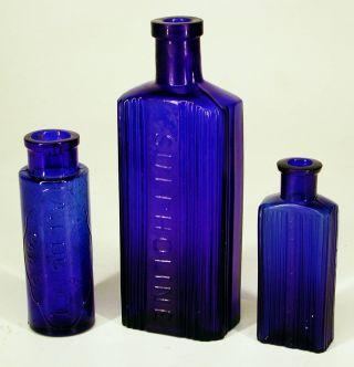 Collection 3 Scarce Antique Cobalt Blue Glass Chemist Poison Apothecary Bottles photo