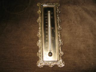 Antique 1800s Ornate Scientific Brass Thermometer Blood Fever Heat Instrument photo