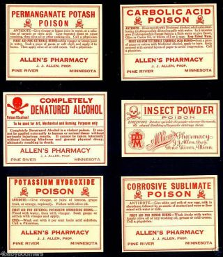 9 Antique Pine River Minnesota Poison & Pharmacy Labels photo