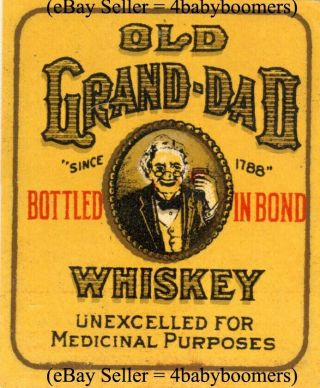 Vintage Old Grand Dad Small Prohibition Medicinal Medicine Whiskey Bottle Labels photo