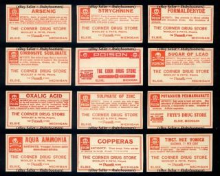 12 ~ All Poison ~ Elsie Michigan Drug Store Pharmacy Apothecary Medicine Label photo