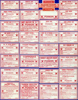 34 All Poison Pharmacy Drugstore Medicine Bottle Label photo