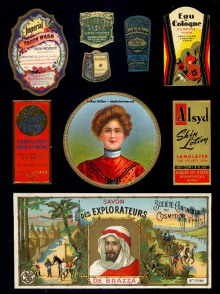 11c Antique Perfume Bottle Soap Beauty Cosmetics Labels photo