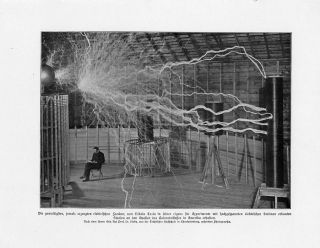 C1900 Nikola Tesla Master Of Lightning Antique Print W.  Bolsche photo