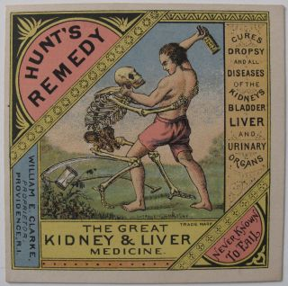 Hunts Remedy Grim Reaper Skeleton Kidney Cure Advertising Victorian Trade Card photo