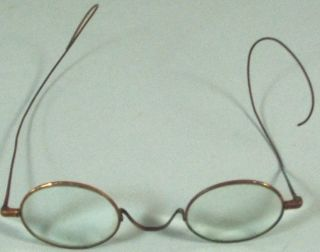 Antique Vintage S.  P.  A.  Eyeglasses Copper Metal Frames Round Magnifying Lenses photo
