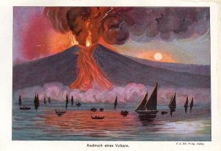 C1900 Volcano Eruption Antique Lithograph Print Bilz photo