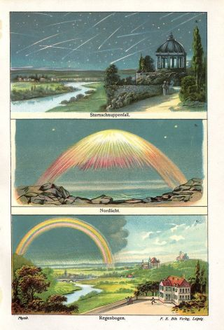 C1900 Falling Stars Aurora Borealis Rainbow Antique Chromolithograph Print Bilz photo