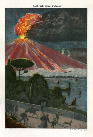 C1900 Volcano Eruption Antique Chromolithograph Print Bilz photo