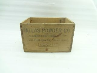 Vintage Atlas Powder Explosive Dynamite Wood Box Crate Empty Industrial Rare photo