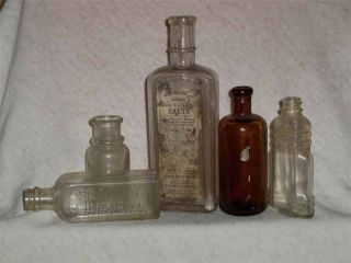 Five Antique Medicine Bottles Including Hamby Liver Salts With Label photo