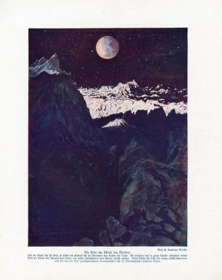 C1900 Moon Landscape Earth Astronomy Antiqoffset Lithograph Print W.  Bolsche photo