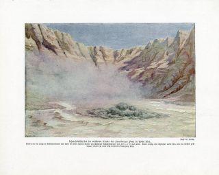 C1900 Costa Rica Volcano Volcanic Crater Antiqoffset Lithograph Print W.  Bolsche photo