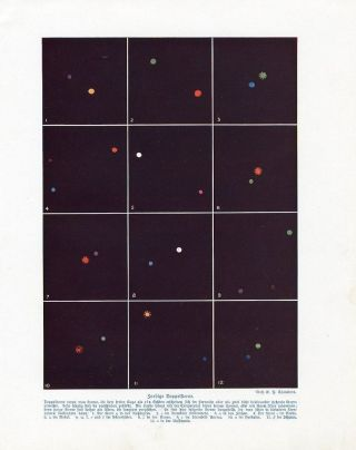 C1900 Stars Double Stars Colors Astronomy Antiqoffset Lithograph Print W.  Bolsche photo