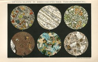 1894 Rocks Under Microscope Antique Chromolithograph Print photo